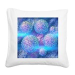 Outer Flow III Aqua Square Canvas Pillow