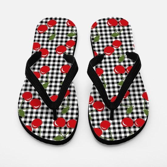 Retro Cherry Gingham Flip Flops