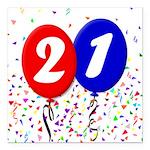 21st Birthday Square Car Magnet 3