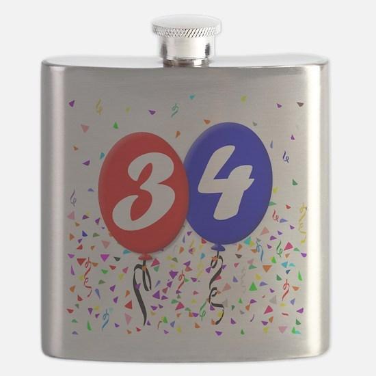 34th Birthday Flask