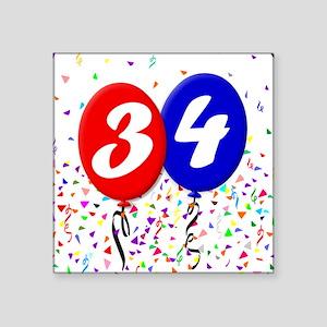 "34th Birthday Square Sticker 3"" x 3"""