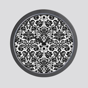 Black and white damask pattern Wall Clock