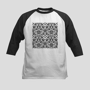 Black and white damask pattern Baseball Jersey