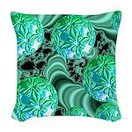 Emerald Satin Dreams Woven Throw Pillow