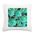 Emerald Satin Dreams Square Canvas Pillow