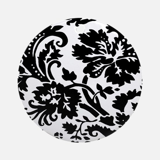Black and white damask Ornament (Round)