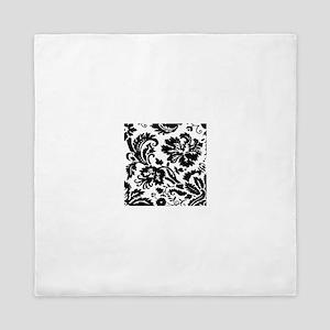 Black and white damask Queen Duvet