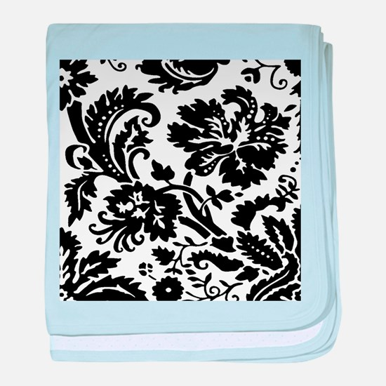 Black and white damask baby blanket