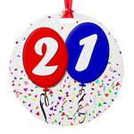 21st Birthday Round Ornament