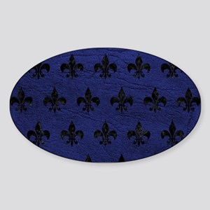 ROYAL1 BLACK MARBLE & BLUE LEATHER Sticker (Oval)