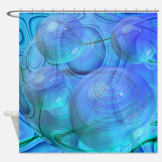 Inner Flow VI Azure Spheres Shower Curtain