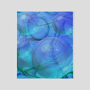 Inner Flow VI Azure Spheres Throw Blanket