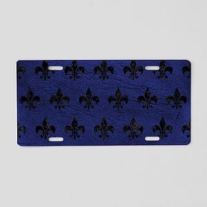 ROYAL1 BLACK MARBLE & BLUE Aluminum License Plate