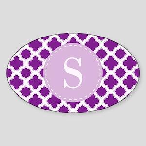 Quatrefoil Pattern Purple with Custom Monogram Sti