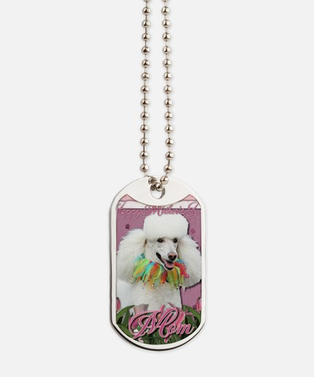 Mothers_Day_Pink_Tulips_Poodle_White_Mom Dog Tags