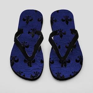 ROYAL1 BLACK MARBLE & BLUE LEATHER Flip Flops