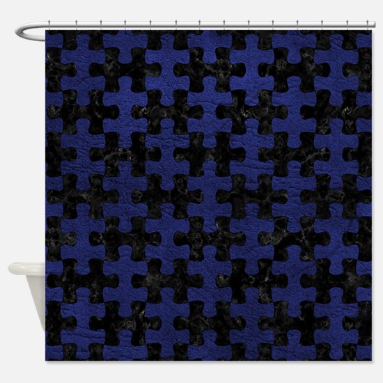 PUZZLE1 BLACK MARBLE & BLUE LEATHER Shower Curtain
