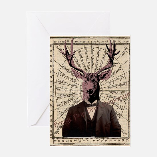 Victorian Deer on Old Map Steampunk Altered Art Gr