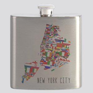 New York City Ethnic Map Flask