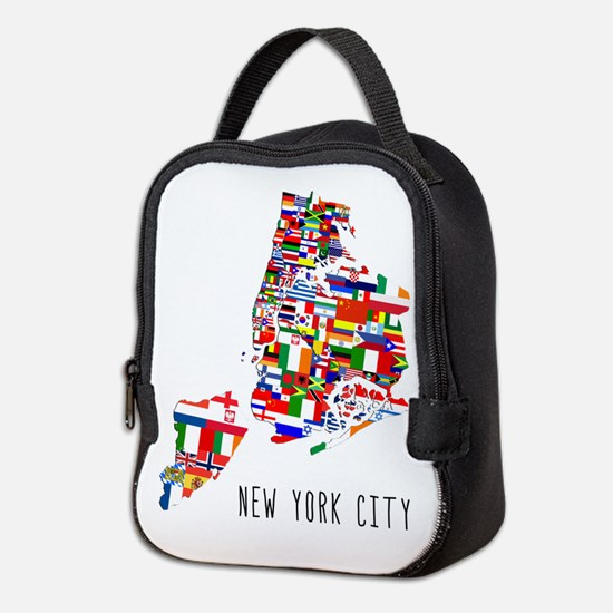 New York City Ethnic Map Neoprene Lunch Bag
