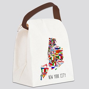 New York City Ethnic Map Canvas Lunch Bag