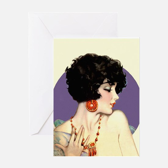 Art Deco Flapper Pin Up with Red Jewelry Jazz Age