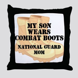 National Guard Mom Son Desert Combat Boots Throw P