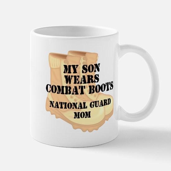 National Guard Mom Son Desert Combat Boots Mugs
