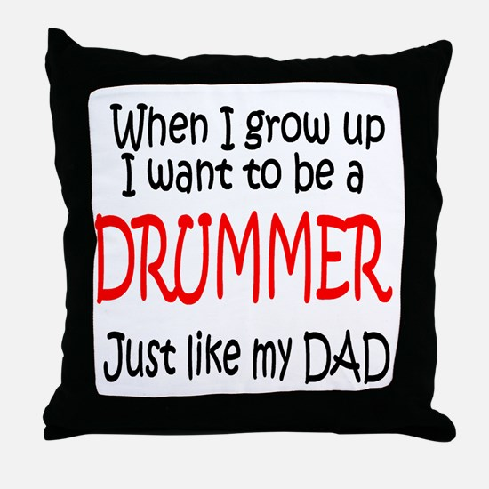 Drummer - like dad Throw Pillow