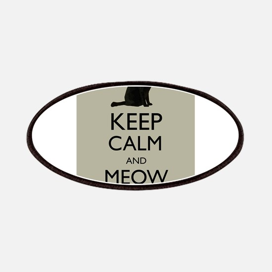Keep Calm and Meow On Black Cat Humor Parody Patch