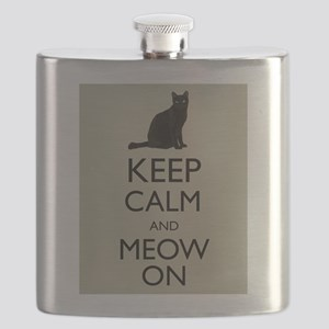 Keep Calm and Meow On Black Cat Humor Parody Flask