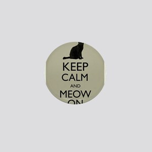 Keep Calm and Meow On Black Cat Humor Parody Mini