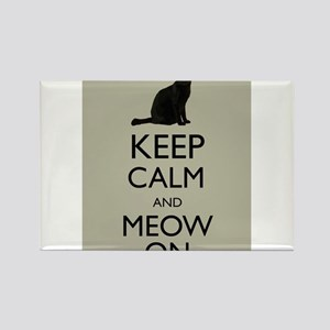 Keep Calm and Meow On Black Cat Humor Parody Magne