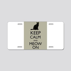 Keep Calm and Meow On Black Cat Humor Parody Alumi