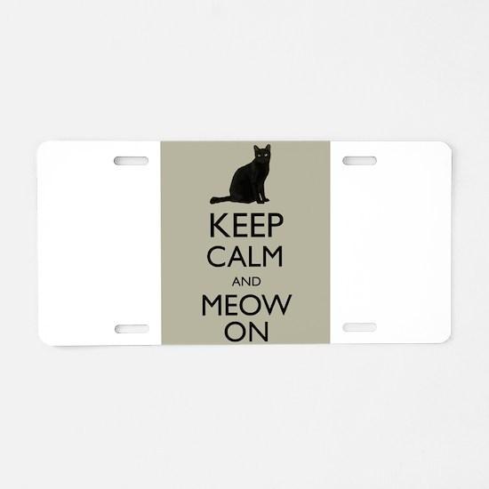 Keep Calm and Meow On Black Cat Humor Parody Alumi