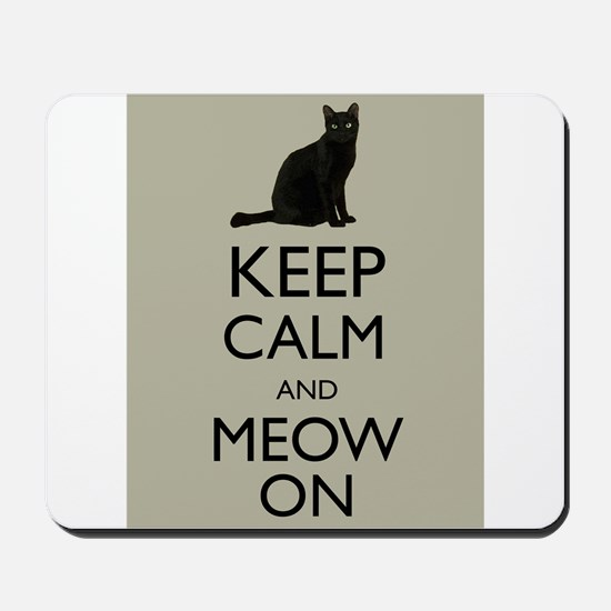 Keep Calm and Meow On Black Cat Humor Parody Mouse