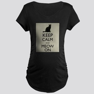 Keep Calm and Meow On Black Cat Humor Parody Mater