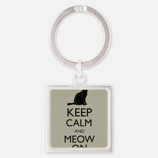 Keep Calm and Meow On Black Cat Humor Parody Keych