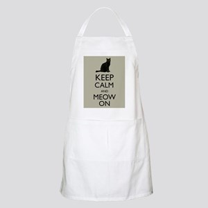 Keep Calm and Meow On Black Cat Humor Parody Apron