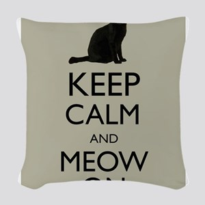 Keep Calm and Meow On Black Cat Humor Parody Woven