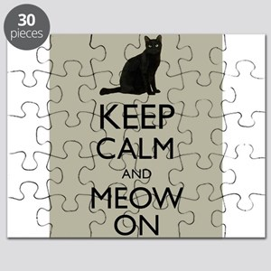 Keep Calm and Meow On Black Cat Humor Parody Puzzl
