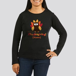 Personalized Happy Thanksgiving Owl Women's Long S