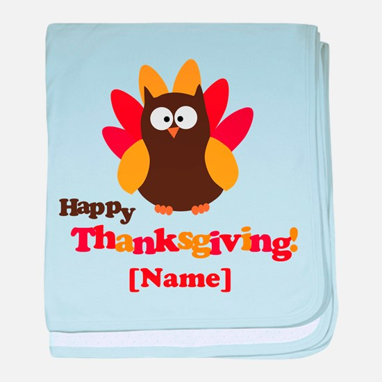 Personalized Happy Thanksgiving Owl baby blanket