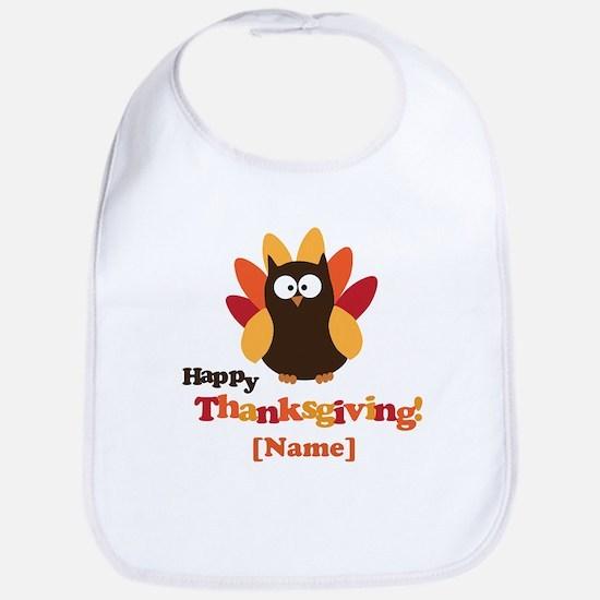 Personalized Happy Thanksgiving Owl Bib