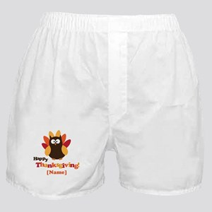 Personalized Happy Thanksgiving Owl Boxer Shorts