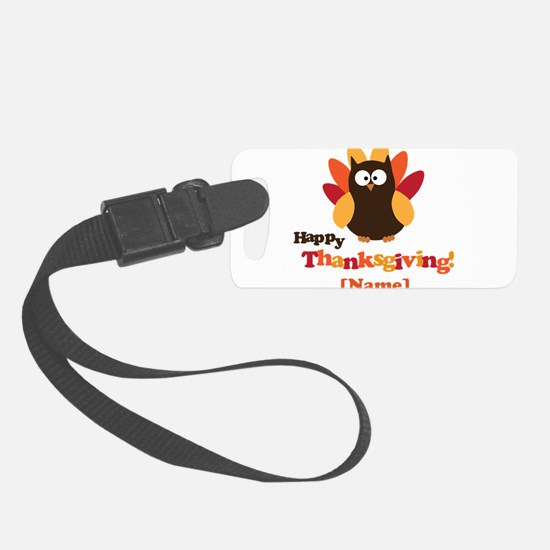 Personalized Happy Thanksgiving Owl Luggage Tag