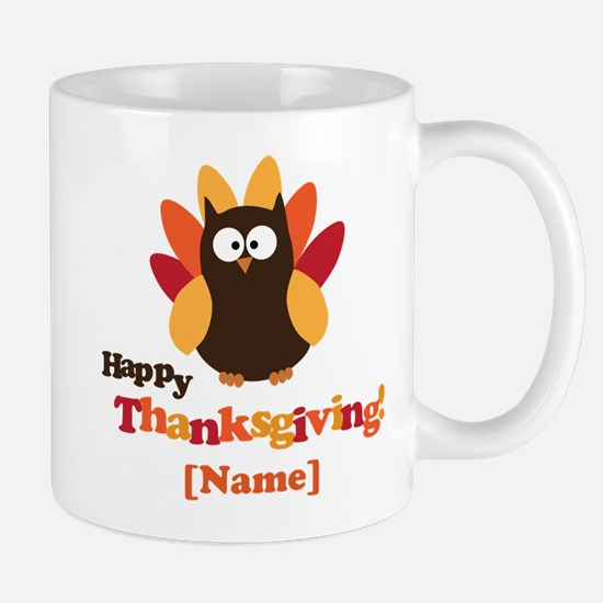 Personalized Happy Thanksgiving Owl Mug