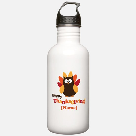 Personalized Happy Thanksgiving Owl Water Bottle
