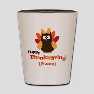 Personalized Happy Thanksgiving Owl Shot Glass