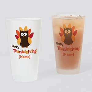 Personalized Happy Thanksgiving Owl Drinking Glass